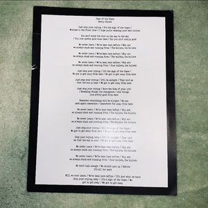 Harry Styles VIP Sign of the Times Lyric Sheet